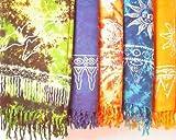 Sarong STAMPBATIK, Pareo, Hüfttuch, Wickelrock, Strandtuch verschiedene Farben, Farbe:blau