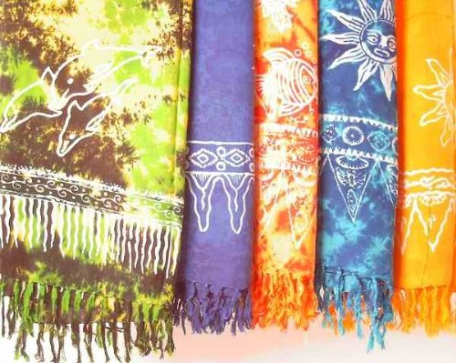 Kunsthandwerk Asien Sarong STAMPBATIK, Pareo, Hüfttuch, Wickelrock, Strandtuch, Farbe:gelb