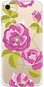 URBAN KOLOURS Original Designer Printed Clear Case Back Cover for Apple iPhone 7 (Rose Vector-Clear)