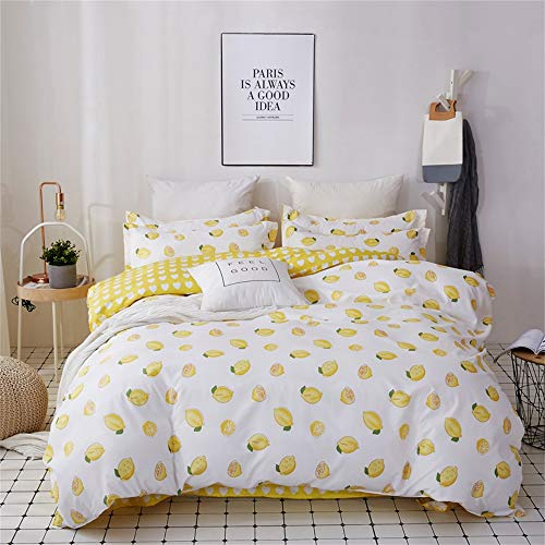 Wenquan,Vier Sätze klare und einfache Bettwäsche mit Zitrone C Muster(Color:Biene GELB,Size:VOLL) (Gelb Voll Bettwäsche)