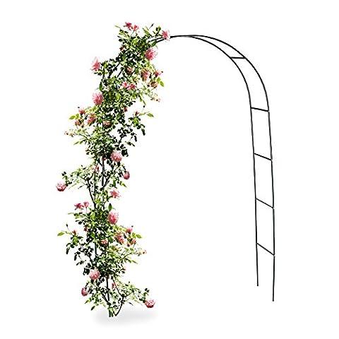 Relaxdays Torbogen Rankhilfe für Kletterpflanzen und Rosen 240 cm, Metall Rosenbogen witterungsbeständig, (Freistehende Tor)