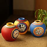 ExclusiveLane Combo of Terracotta Handpainted Home Decorative Bedside Terracotta Flower Vase (Blue Yellow & Red, Set of 3)