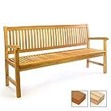 Divero 3-Sitzer Bank Holzbank Gartenbank Sitzbank 180 cm – zertifiziertes Teak-Holz unbehandelt hochwertig massiv – Reine Handarbeit – Wetterfest