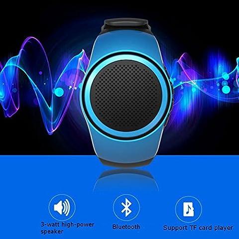 Lautsprecher Watch,CAMTOA Mini Bluetooth Tragbare Lautsprecher Multifunktions Sport Armband,MP3-Musik-Player,Freisprechfunktion,FM Radio,Telefon Anti-verlorene,TF-Karten-Unterstützung,Selbstauslöse Blau