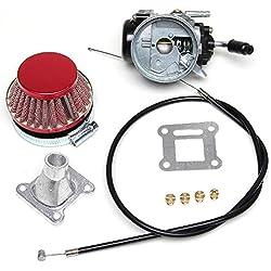 Tuning - Carburateur plat de 14 mm avec 4 buses, câble d'accélération, filtre à air pour Mini Pocket Bike