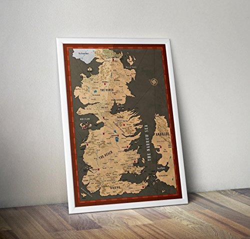 Game of Thrones Poster - Karte von Westeros Print - weiße Wanderer - Game of Thrones Häuser -...