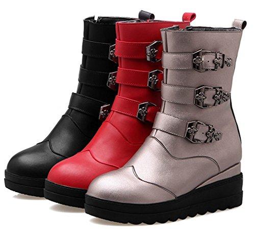 YE Damen Wedges Plateau Stiefeletten mit Keilabsatz Schnallen und Reißverschluss 5cm Absatz Casual Bequem Boots Grau