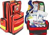 Erste Hilfe Notfallrucksack für Jugendgruppen u. Zeltlager - Plane mit gelben Reflexstreifen
