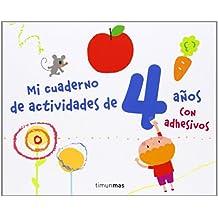 Mi cuaderno de actividades de 4 años: Con adhesivos (Libros De Actividades)