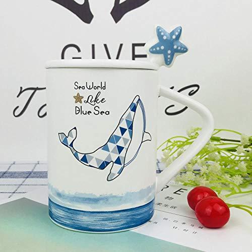 Ocean Blue Cup (ZHUYU Ehepaar Freunde,Creative Cup Ocean Keramiktasse, Blue Mermaid, Milk Cup, Starfish Pattern, Becher Mit Löffel @ A_301-400Ml)