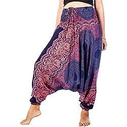 Lofbaz Mujeres Rose 1 Smocked Cintura 2 en 1 Harén Mono Pantalones Azul Oscuro 2XL