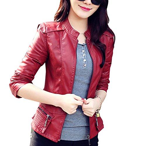 Chaqueta De Cuero Corta De PU Imitación De Cuero para Mujer Jacket Vino Rojo M