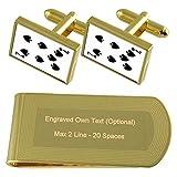 Spaten Playing Card Nummer 7 Gold-Manschettenknöpfe Geldscheinklammer Gravur Geschenkset