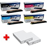 Brother HL-3070CW original Tonerkit (TN-230) TN-230BK (schwarz) / TN-230C (cyan) / TN230-Y (gelb) / TN-230M (magenta) + 2 x 500 Blatt Laserpapier DIN A4 - 80g/m²