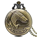 BOBIJOO Jewelry - Montre Quartz Gousset Homme Pêcheur Poisson Nature Fishing Métal Bronze Chaîne