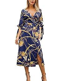 05f403d0c527 Jinglive Donna Vestiti con Bandage Casual Stampa Midi Vestito da Spiaggia V  Collo Maniche 3 4 Abito da Partito…