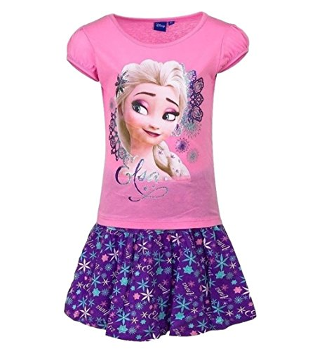 igin T-Shirt und Rock Kollektion 2017 Set 98 104 110 116 122 128 Mädchen Kurzarmshirt Elsa Disney Rosa-Lila (98 - 104; Prime) (Disney Frozen Kollektion)