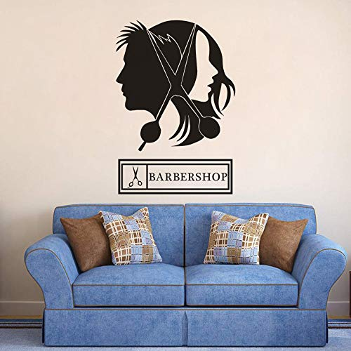 Taglio capelli Scissor Wall Sticker Unisex Hair Salon Logo Window Vinyl Decalcomanie Hair Design Barbershop Sign Poster da parete   57x83CM