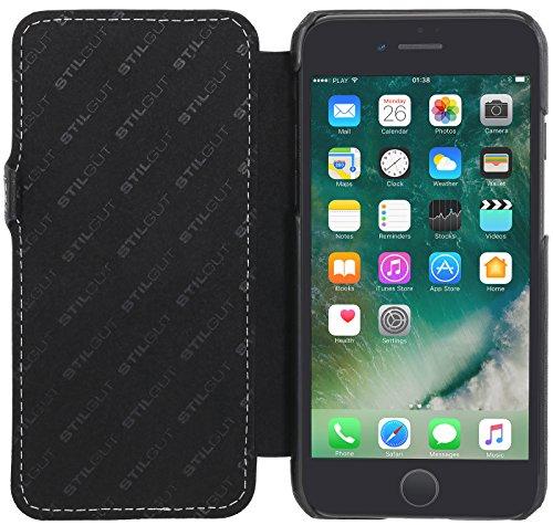StilGut Book Type avec clip, housse iPhone 8 Plus en cuir élégant. Etui de protection pour Apple iPhone 8 Plus à ouverture latérale avec fermeture clipsée, noir Noir nappa -avec clip