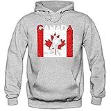 Shirt Happenz Canada Eishockey #4 Premium Hoodie | Kanada | Flagge | Eis-Hockey-Spieler | Herren | Kapuzenpullover, Farbe:Graumeliert;Größe:XXL