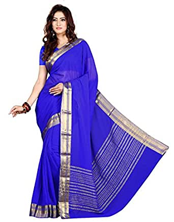 Roopkala Silks & Sarees Chiffon Saree (Ds-264_Royal Blue)