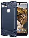 Essential Phone Coque, TUDIA TAMM TPU Fibre de carbone Mince Bumper Coque pour Essential Phone PH-1 (Bleu Marin)