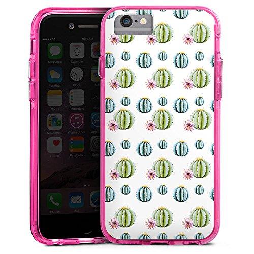 Apple iPhone 7 Bumper Hülle Bumper Case Glitzer Hülle Kakteen Cactus Muster Bumper Case transparent pink