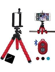 xhorizon(TM)XH8 Mini flexibles pulpo soporte del trípode con el titular de montaje para Smartphone,Cámara,Cámara web con el obturador a distancia inalámbrico Bluetooth para el iPhone Samsung y otros IOS / Android Phone-Rojo