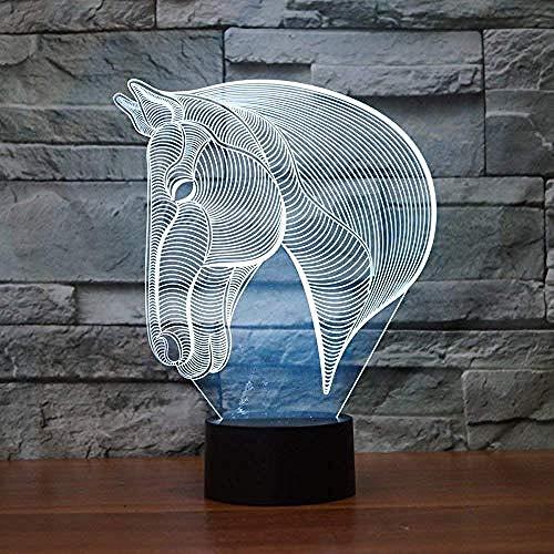Erstaunliche 7 Farben Optische Täuschung 3D Baseball Lampen Glow Lighting Nightlight Room Decor Tischlampen (Basketball) @Horse Head