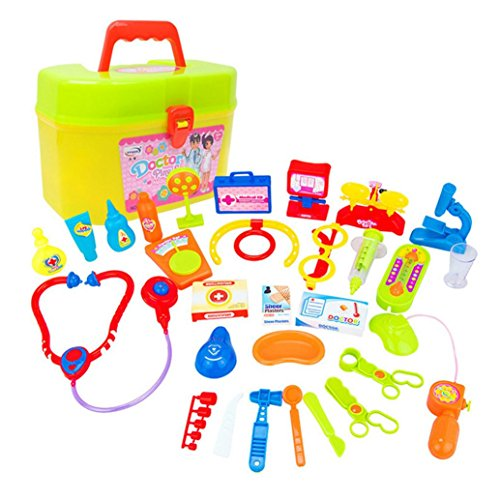 Xshuai 22,5 * 15,0 * 12,5 cm 30 stücke Kinder Baby Arzt Medical Play Carry Set Fall Bildung Rolle Spielen Spielzeug Kit Weihnachtsgeschenk (Mehrfarbig)