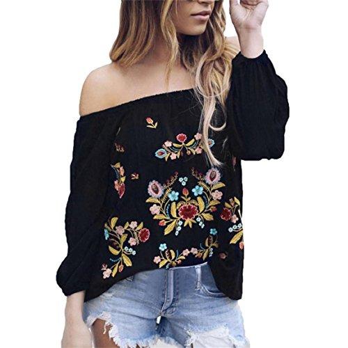 Moonuy Damen Langarm Bluse Frauen Schulterfrei Shirt Chiffon Blumenstickerei Vintage Schwarz Damen Slash Neck Tops Größe S bis XL (EU 34/Asien S, Schwarz)