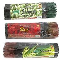 DCS Danka Natural Incense sticks - Combo of Jasmine, Rose & Kewka (Set of 3)