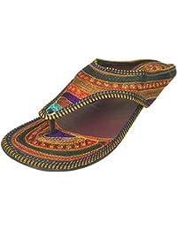 Kalra Créations Ethniques Traditionnelles Indiennes Pantoufle Femme - Chaussures En Cuir, Marron, Taille 36 M Eu