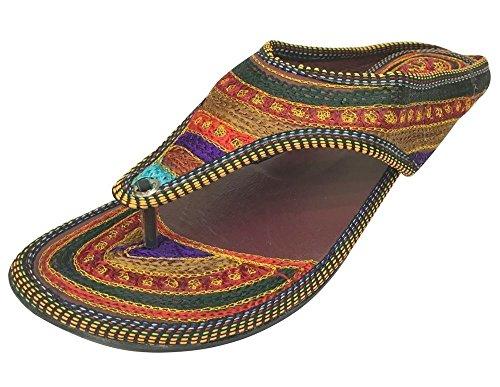 Step n Style Soporte de Jutti ehhnic Zapatos de Zapato de Hecho a Mano Indian Saree Zapatillas Juti, Color Marrón, Talla 38