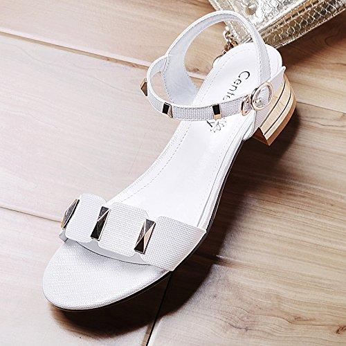 XY&GKRohöl Sandalen Sommer Damen Sandalen mit Toe All-Match Wort Schnalle Damen High Heels, komfortabel und schön 40 white