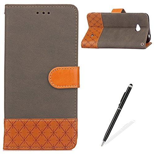 For MAGQI Nokia N640 PU Leder Hülle,Cowboy Retro Splice Farbe Stoffe Denim Material Schale,Magnetverschluss Hybrid-Kickstand Stand Funktion mit [Freier schwarzer Stift] - Braun (Cowboy Kfz-zubehör)