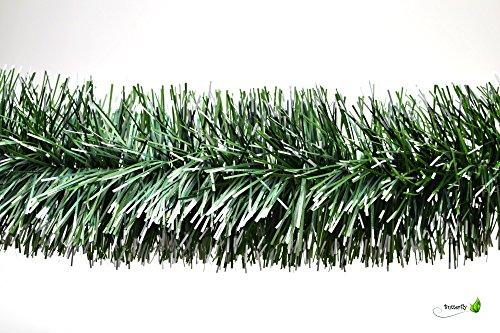 3m Grasgirlande Ø 10cm grün mit weißen Spitzen / Tannengirlande Weihnachtsgirlande Girlande Weinachten Christbaumschmuck Tanne Gras Deko Festzeltgirlande Hochzeit 100mm