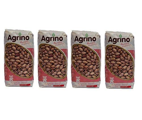 4x braune Bohnen aus Griechenland 4 Tüten a 500 g - gesamt 2 kg Bohnen farbig + gratis Probiersachet Olivenöl 10 ml aus Kreta (Braune Bohnen)