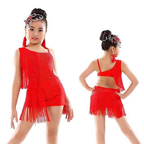 SymbolLife Tanzkleid Tanzkostüm Lateinischer Tanz Kleid für Mädchen Kinder Salsa Tango Fransenkleid mit Pailletten Quaste Kostüm Tanzkostüme ()