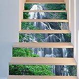 LIZHIOO Treppenaufkleber Wasserfall Landschaft Aufkleber Wandaufkleber Wasserdicht Kunst Selbstklebend Schlafzimmer Dekoration (100cm*18cm) 13pcs