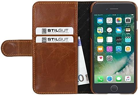 StilGut Talis, housse iPhone 8 Plus & iPhone 7 Plus avec porte-cartes en cuir véritable. Etui portefeuille à ouverture latérale et languette magnétique pour iPhone 8 Plus & iPhone 7 Plus (5.5 pouces), Cognac