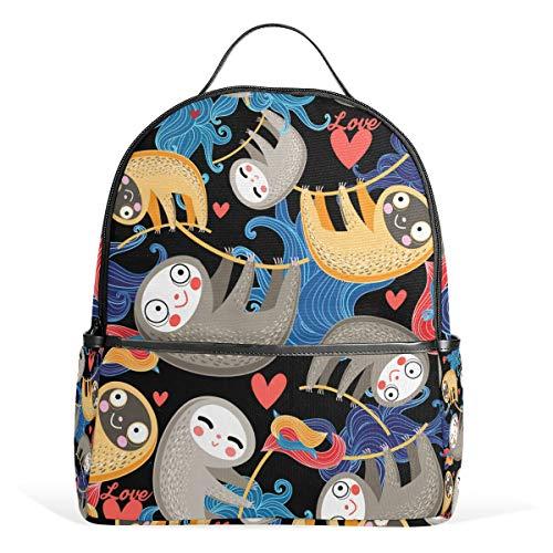 Graphic Design Faultier Casual Student Rucksack, strapazierfähig, Unisex Schultasche, Büchertasche, Daypack, Rucksack, Schultertasche für Schule Reisen