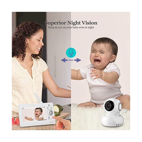 """iLifeSmart 720P Wireless Video Baby Monitor with 5"""" HD LCD Digital Screen, Two Way Audio and Baby Lullabies, Sound & Temperature Alert, Low Battery & Out of Range Alarm, Night Vision iLifeSmart 【5"""" Large LCD Screen Monitor 】 iLifeSmart baby monitor is equipped with super large 5 inch full color HD LCD screen with 1280 x 720 resolution, which can offer you a clear and vivid real-time view.5"""" Large Rechargeable Color LCD Monitor : iLifeSmart baby monitor is equipped with super large 5 inch full color HD LCD screen with 1280 x 720 resolution, which can offer you a clear and vivid real-time view. 【Sound Detection and Temerature Monitoring】The baby monitor can be at the sleep mode then activated by sound.The temperature monitoring function can help you build a cosy environment for your baby. 【Pan and Tilt Function】You can press the button on the baby monitor to see your baby closer and clearly. 6"""