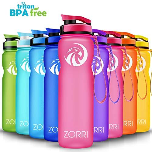 ZORRI Sport Trinkflasche auslaufsicher, BPA Frei & Umweltfreundlich Wasserflasche Für Kinder & Frauen, One Handed Open & Tritan, Für Gym/Outdoor/Camping - Rosa - 1000ml