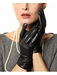 Warmen - Gants en Cuir pour Femme - Noeud - Chauds pour l'Hiver