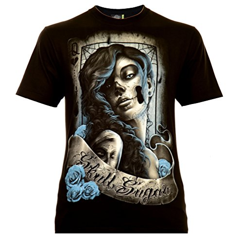 Santa Muerte with Lettering Herren T-Shirt Schwarz Gr. L Glow in The Dark (Shirts In The Dark Halloween-glow)