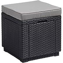 Allibert 206721Tabouret avec coussin Cube W/Cushion, en plastique effet rotin graphite