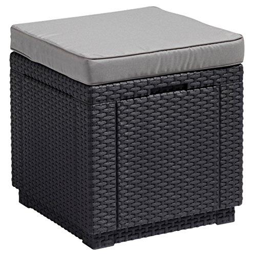 gartenbox polyrattan Allibert Hocker Cube mit Kissen, graphit