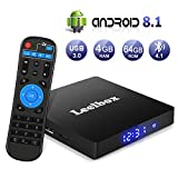 Android 8.1 TV Box, Android Box 4GB RAM + 64GB ROM, Leelbox Q4 MAX Smart TV Box RK3328 Quad Core 64 bit, USB 3.0, Wi-Fi integrato, BT 4.1, Android TV UHD 4K Box TV Android