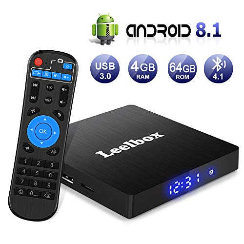 TV Box Android 8.1 [4GB RAM + 64GB ROM] Android Box TV [Ultima Versione 2019], Leelbox Q4 max RK3328 Quad Core 64 bit Smart TV BOX, Wi-Fi integrato, BT4.1, Box TV UHD 4K 3D, LAN100M, USB 3.0